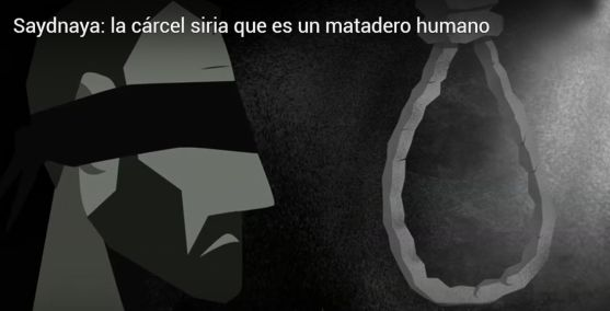 Una imagen del video de AI sobre el penal de Saydnaya.