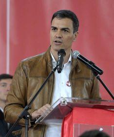 Pedro Sanchez en un acto de campaña.