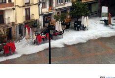 Imagen de la plaza Mayor de Ágreda esta tarde. /SN