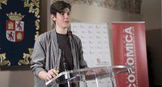 El joven estudiante explicando su proyecto este miércoles en Valladolid.