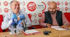 Faustino Temprano (izda.) con Óscar Lobo este martes en UGT Soria. /SN