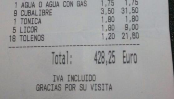 Detalle de la factura.