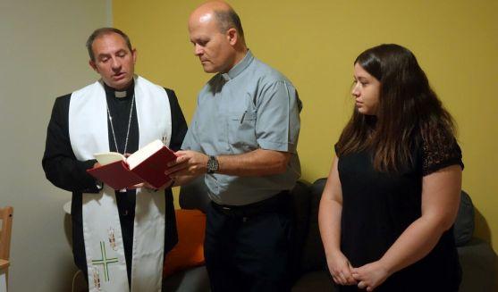 Martínez Varea, Ramírez y Barrena en la bendición de las instalaciones. /DOS