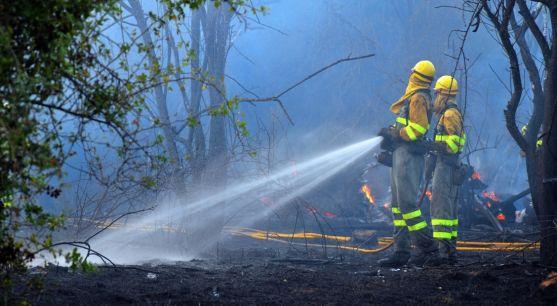 Personal anti incendios en un fuego forestal en la provincia./SN