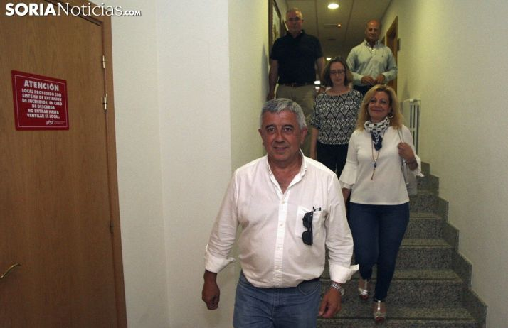 Elvira, Pérez, Torres, Soria y De Pablo tras comparecer ante los medios. /SN