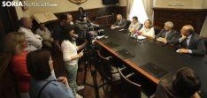 Imagen de la rueda de prensa tras el pleno en la Diputación./SN