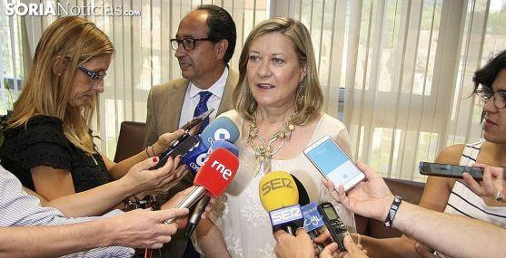 Pilar del Olmo, consejera de Economía y Hacienda, este lunes en Soria. /SN