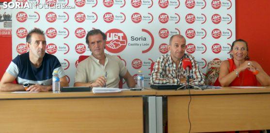 Corredor (izda.), García, Soria y Mor, este martes en UGT./SN