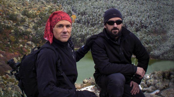 Los dos fotógrafos en la Laguna.
