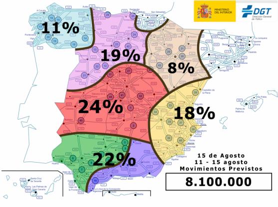 Mapa de la distribución de desplazamientos en España. / DGT