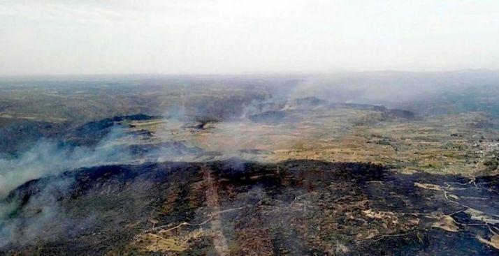 Imagen aérea del fuego.