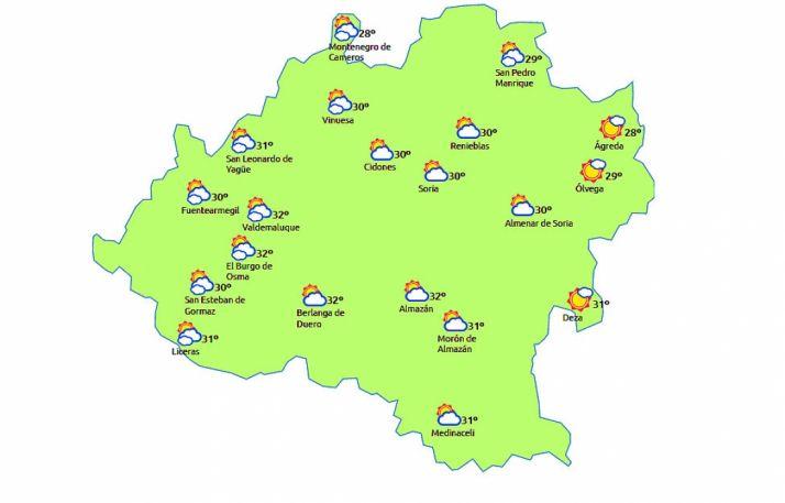 Mapa a las 14:00 horas./eltiempo.es