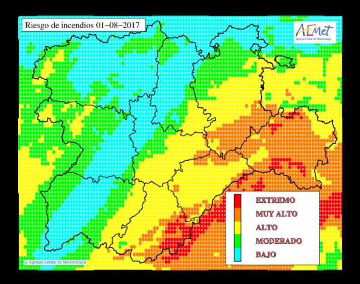 Mapa riesgo de incendios. AEMET