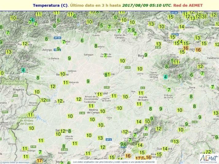 Registro de temperaturas la madrugada del martes. / AEMET