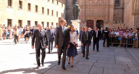Don Felipe y Doña Letizia en Salamanca este jueves.