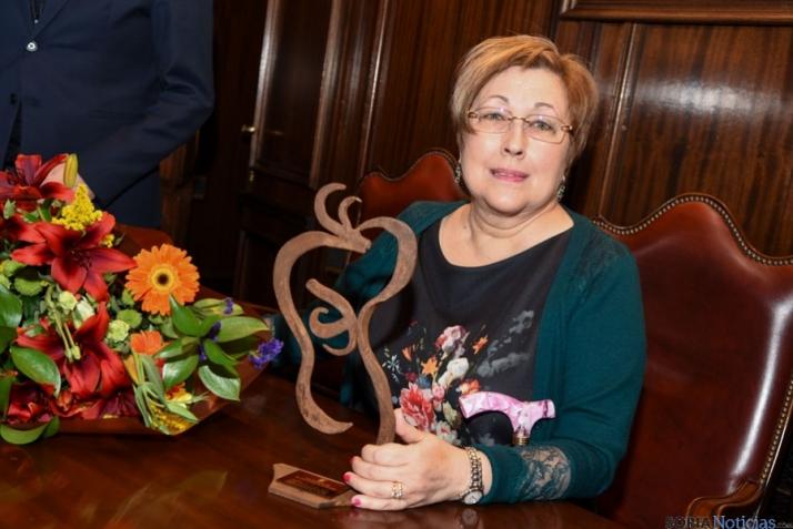 Eloisa en el Consistorio soriano en el homenaje que recibió el año pasado. SN
