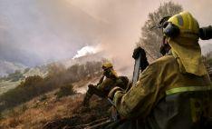 Operarios de la Brif de Tabuyo en el incendio de León./Brif Tabuyo
