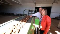 La consejera de Agricultura, Milagros Marcos, este lunes en Montorio (Burgos).)