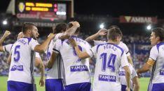 Celebración del tempranero gol del Zarazoza. /LaLiga