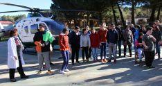 La aeronave en las inmediaciones del centro. /SdG