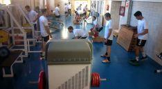 Los de Bandrés entrenando en el gimnasio. /BM Soria