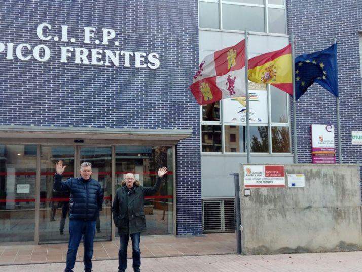 Los dos profesores islandeses en su visita a Soria