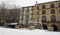 Imagen de la fuente de los leones en la plaza Mayor de la capital. /SN