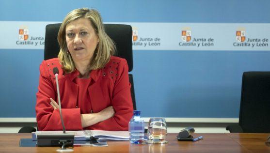 La consejera de Hacienda, Pilar del Olmo, este lunes en rueda informativa.