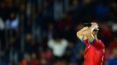 Pere Milla se lamenta tras una acción de gol marrada en Soria. LaLiga.