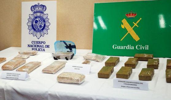 La droga incautada en Burgos.