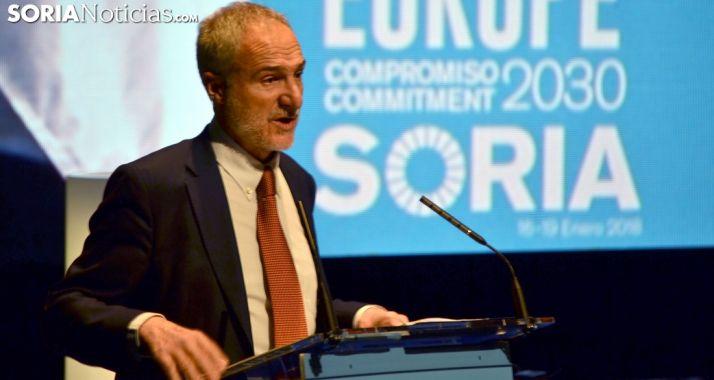 El embajador en Misión Especial la Agenda 2030, Juan Francisco Montalbán Carrasco, hoy en Soria./SN