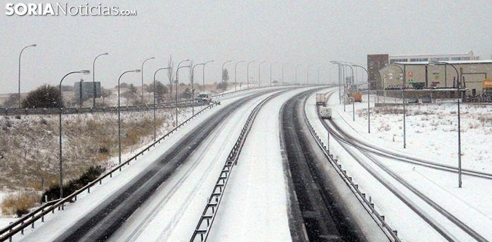 Imagen de la variante de Soria en la nevada de primeros de diciembre. /SN