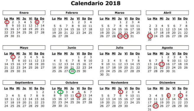 Foto 1 - 14 festivos en 2018