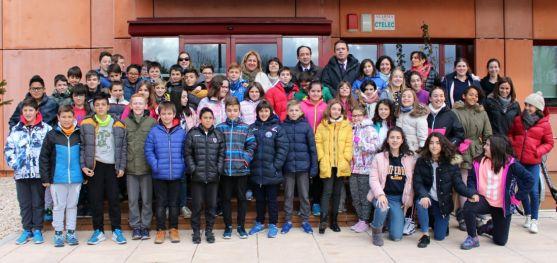Una imagen de la visita de los escolares.