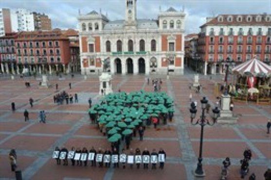 Paraguas verdes en la plaza Mayor de Valladolid. Europa Press.