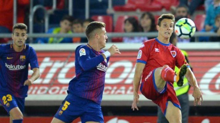 Guillermo Fernández anotó el gol que le dio el triunfo al Numancia contra el Barça B en Los Pajaritos. LaLiga.