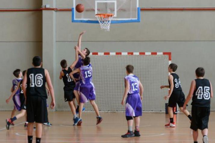 Infantil A Masculino del Club Soria Baloncesto durante una contienda. CSB.