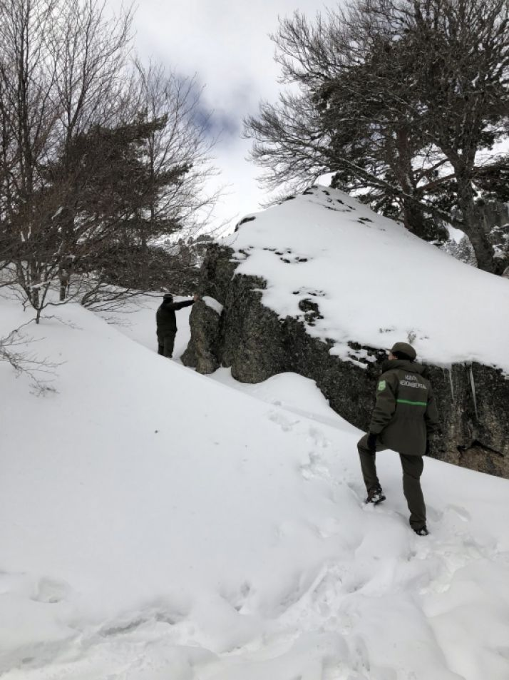 Escalera de acceso a la pasarela de la Laguna Negra.