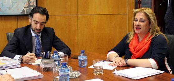 La subdelegada del Gobierno, en una reunión con el director general de Transportes del Ministerio. /SdG