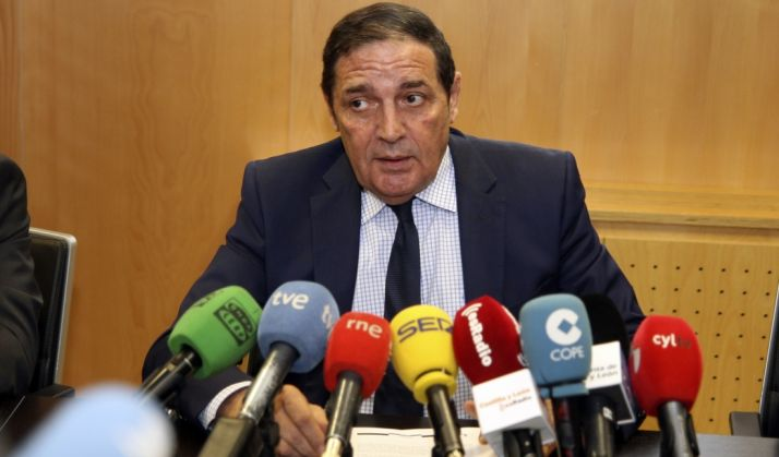 Antonio Mª Saez Aguado, consejero de Sanidad este martes en rueda de prensa.