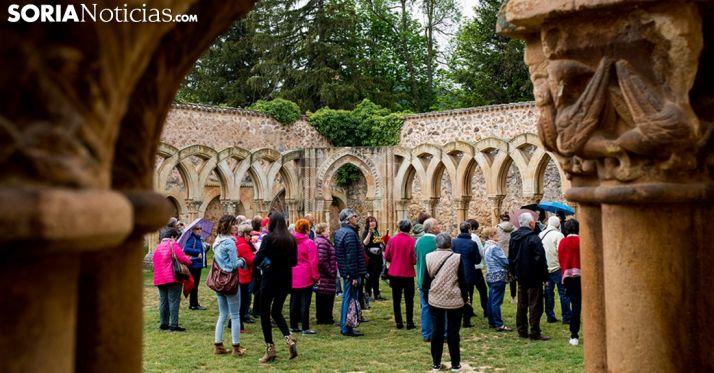 Un grupo de turistas en los Arcos de San Juan de Duero. /SN