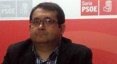 Juan Luis Cepa, este martes en la sede del PSOE soriano.