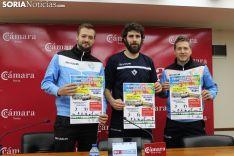 Manu Salvador, Manolo Sevillano y Álvaro Hernández presentan la Escuela de verano de voleibol.