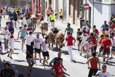 Varios miembros de la A.C.T corren durante el encierro de Soria en 2018.