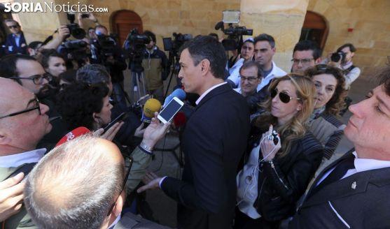 Sánchez, ante los medios de comunicación sorianos este jueves. /SN