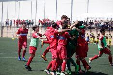 El Espanyol celebra un gol en el Polideportivo San Andrés. NIC.