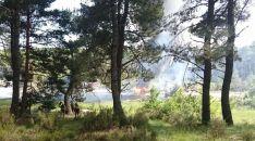 Miembros de la Brif en un espacio arbolado próximo al fuego.