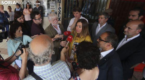 Virginia Barcones, ante los medios informativos en la tarde de este viernes. /SN