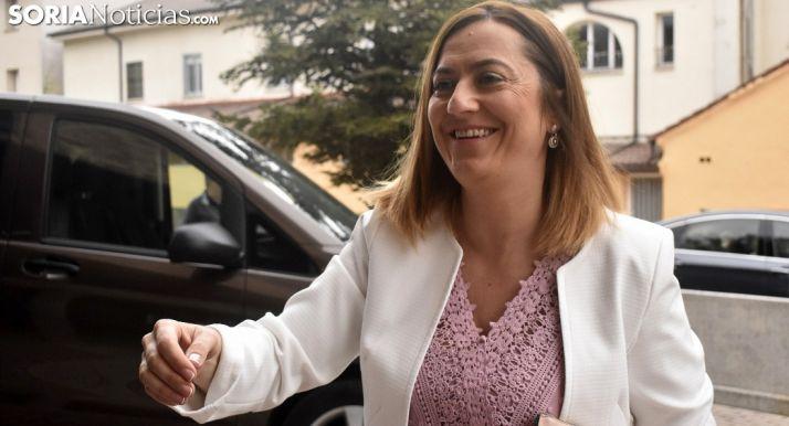 Virgina Barcones, a su llegada a Durufema este viernes. /SN
