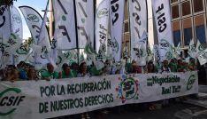 Una imagen de la concentración del sindicato este viernes en Valladolid.